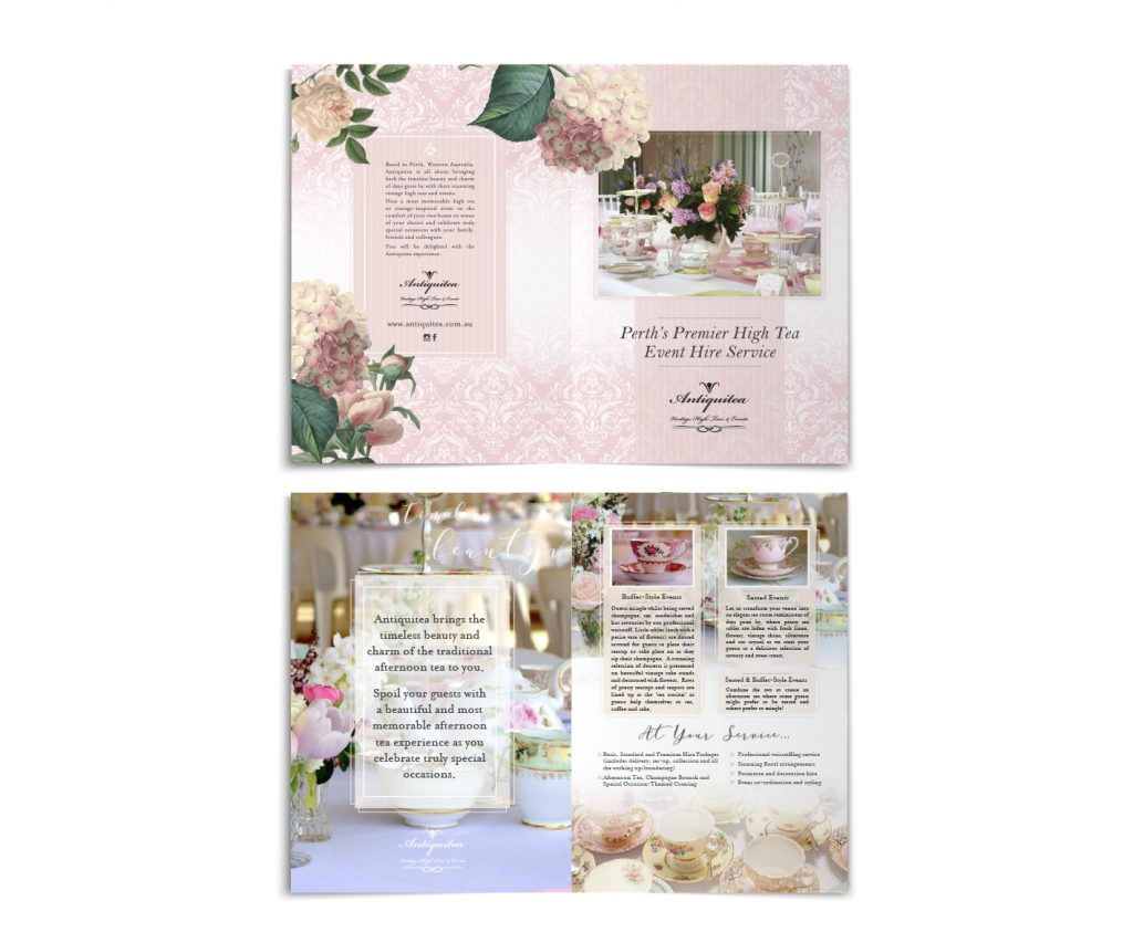 Vintage High Tea Brochure Design by Graphic Designer Billie Hardy Creative