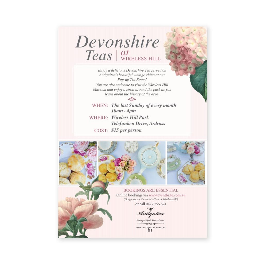 Vintage Devonshire Tea Brochure Design by Graphic Designer Billie Hardy Creative