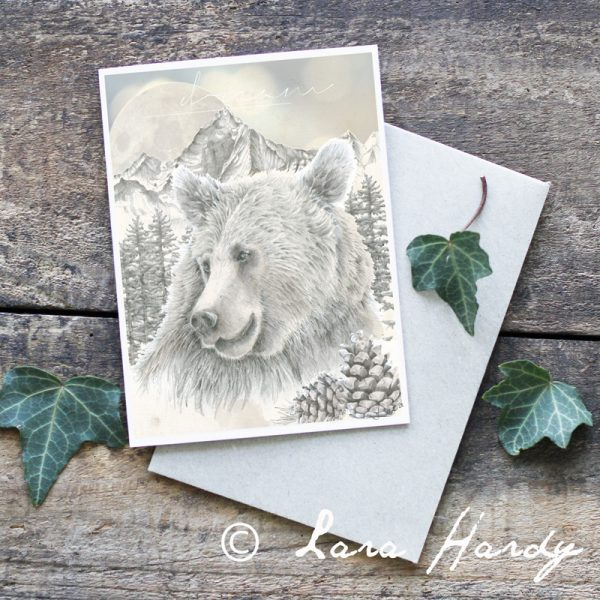 Woodland bear and mountain illustrated art card by Tasmanian artist Lara Hardy From Billie Hardy Creative