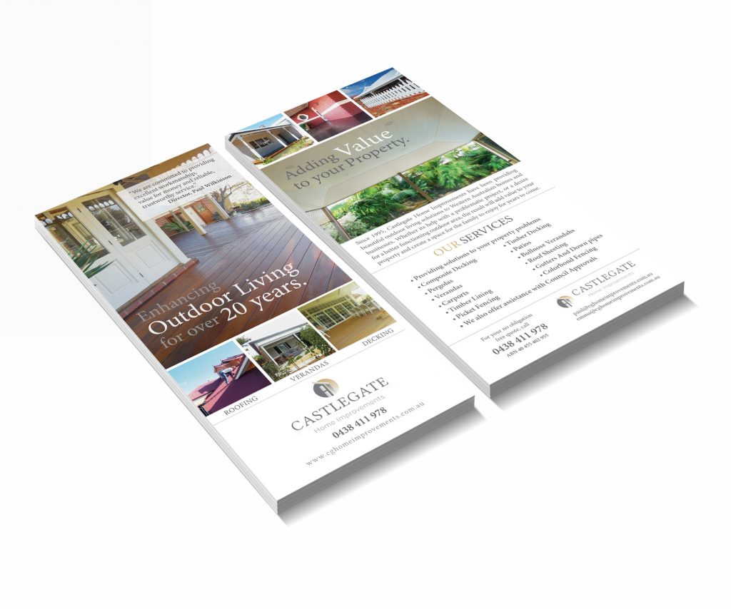 Castlegate Home Improvements Western Australia Leaflet Design by Billie Hardy Creative
