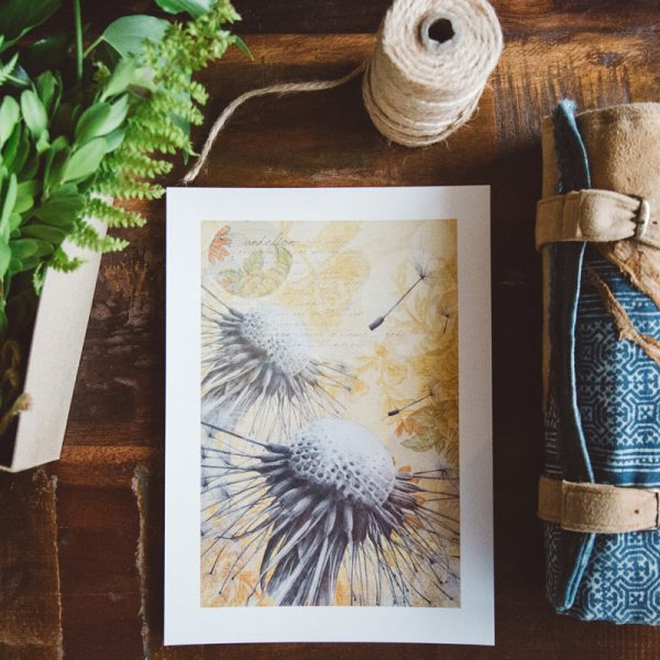 Bohemian dandelion yellow art print by Tasmanian artist Lara Hardy From Billie Hardy Creative