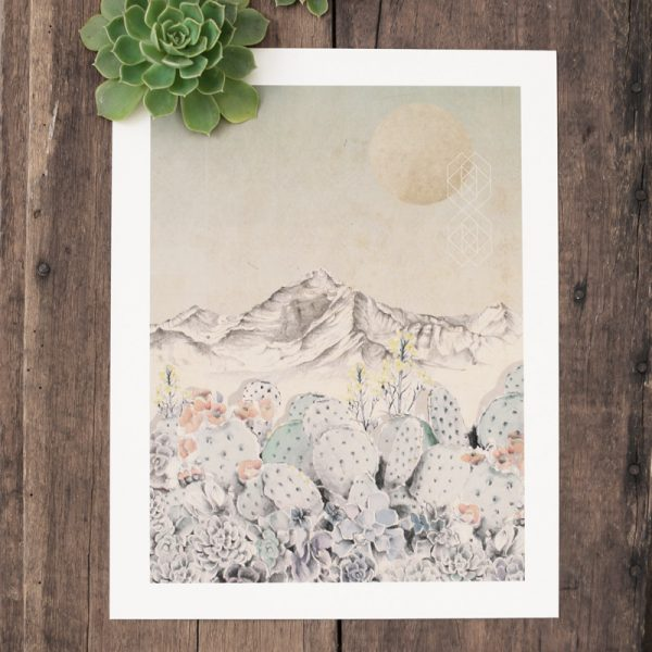 Bohemian succulent illustrated wall art by Tasmanian artist Lara Hardy From Billie Hardy Creative