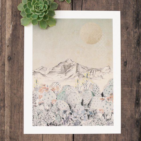 Bohemian succulent illustrated wall art by Tasmanian artist Lara Hardy From Billie Hardy Creative