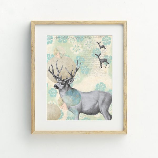 Bohemian Stag Deer Nursery wall art by Tasmanian artist Lara Hardy From Billie Hardy Creative