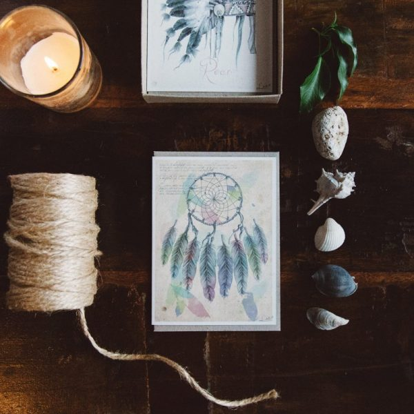 Bohemian Nursery Dream Catcher art card by Tasmanian artist Lara Hardy From Billie Hardy Creative