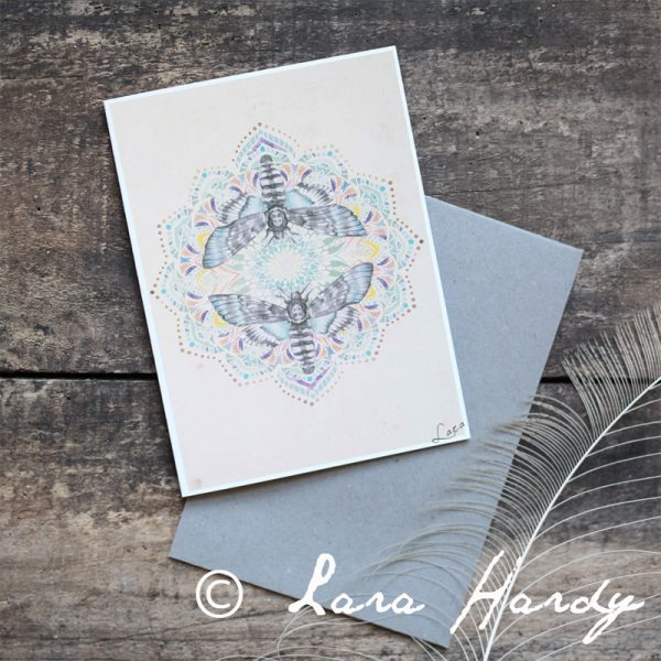 Bohemian mandala and moths illustrated art print by Tasmanian artist Lara Hardy From Billie Hardy Creative