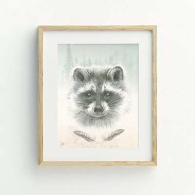 Woodland Raccoon nursery illustrated art print by Tasmanian artist Lara Hardy From Billie Hardy Creative