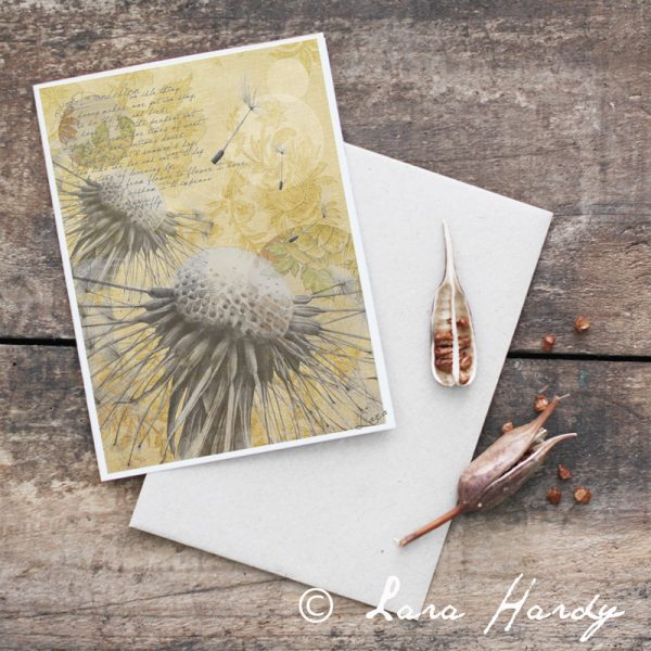 Bohemian yellow dandelion art card by Tasmanian artist Lara Hardy From Billie Hardy Creative