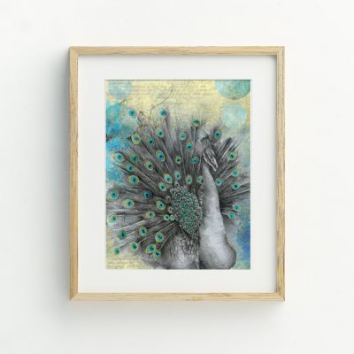Peacock Bohemian Illustrated Art Print by Tasmanian artist Lara Hardy From Billie Hardy Creative