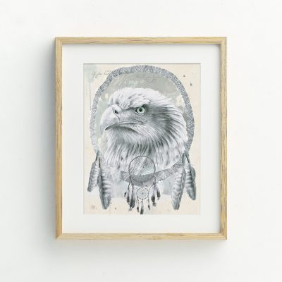 Eagle and Feathers watercolour art print by Tasmanian artist Lara Hardy From Billie Hardy Creative