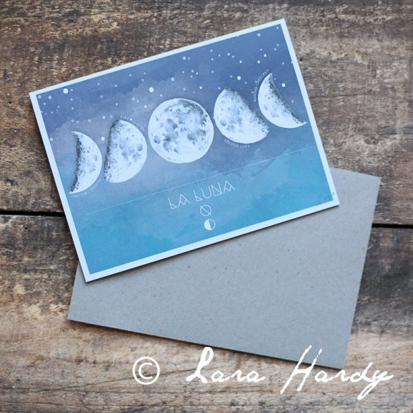 Moon phases watercolour art card by Tasmanian artist Lara Hardy From Billie Hardy Creative