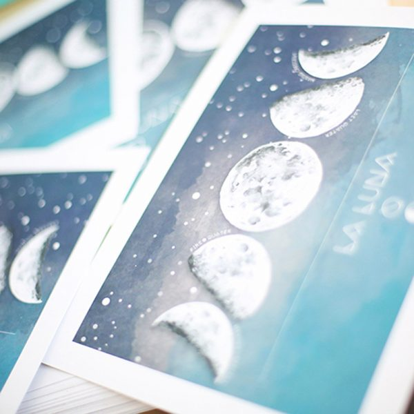 Moon phases watercolour art print by Tasmanian artist Lara Hardy From Billie Hardy Creative