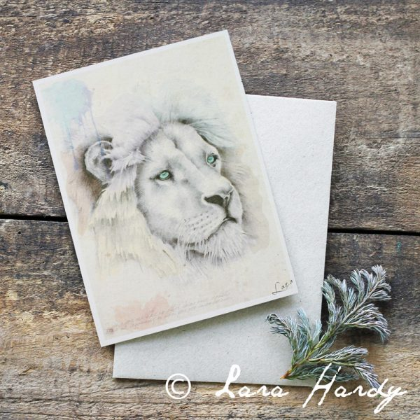 Bohemian Lion watercolour Illustrated Art card by Tasmanian artist Lara Hardy From Billie Hardy Creative