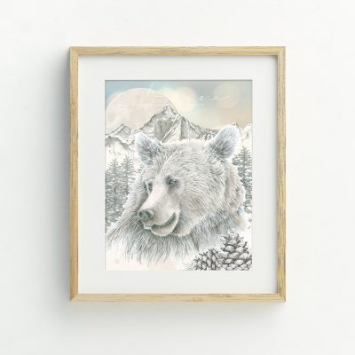 Woodland bear and mountain illustrated art print by Tasmanian artist Lara Hardy From Billie Hardy Creative