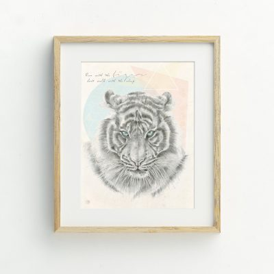 Bohemian Tiger watercolour art print by Tasmanian artist Lara Hardy From Billie Hardy Creative