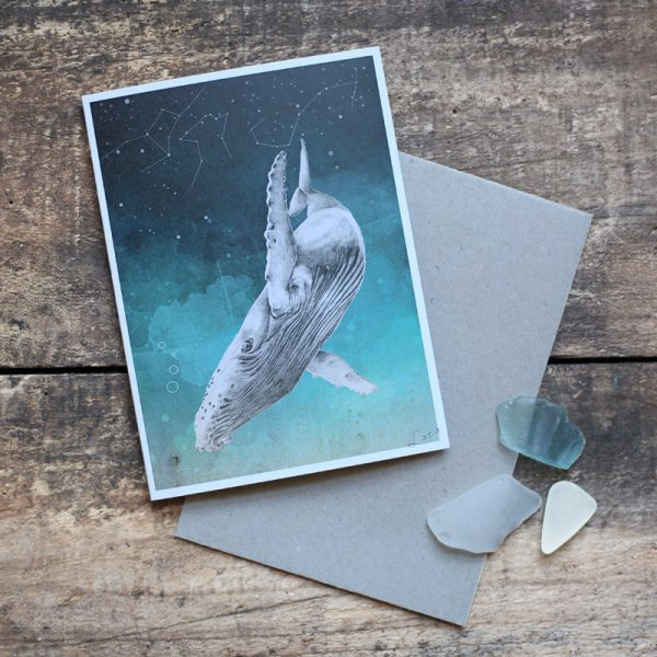 Ocean and Whale children nursery illustrated art card by Tasmanian artist Lara Hardy From Billie Hardy Creative