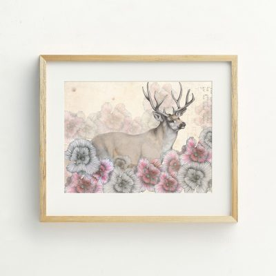 Bohemian Deer and flowers Nursery wall art by Tasmanian artist Lara Hardy From Billie Hardy Creative