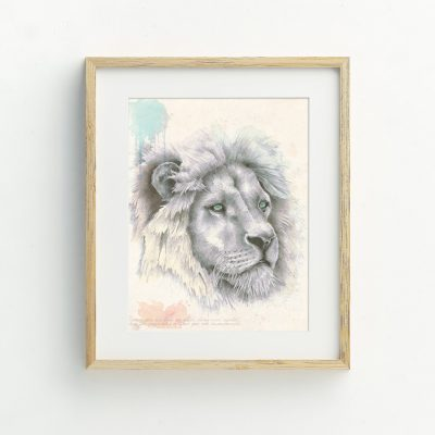 Bohemian Lion watercolour Illustrated Art Print by Tasmanian artist Lara Hardy From Billie Hardy Creative