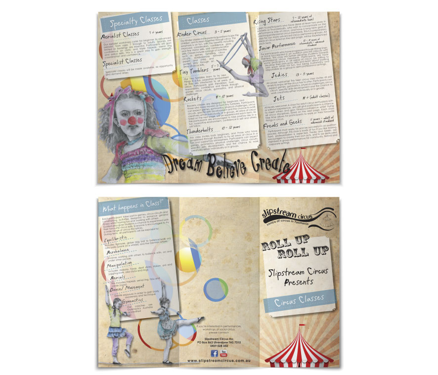 Slipstream Circus Brochure Design by Billie Hardy Creative