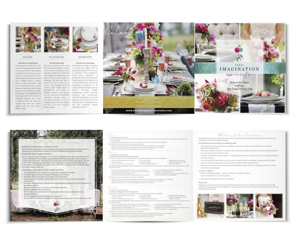Total Imagination Events Colorado Wedding Brochure Design by Billie Hardy Creative