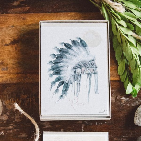 Bohemian Native American Nursery illustrated art card by Tasmanian artist Lara Hardy From Billie Hardy Creative