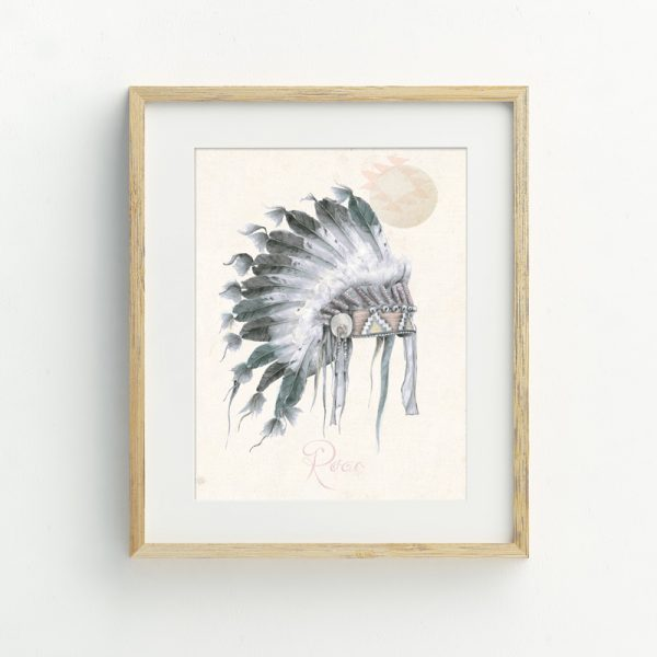 Bohemian Native American Nursery illustrated art print by Tasmanian artist Lara Hardy From Billie Hardy Creative
