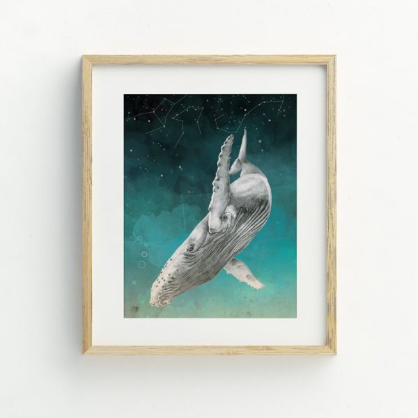 Ocean and Whale nursery illustrated art print by Tasmanian artist Lara Hardy From Billie Hardy Creativee