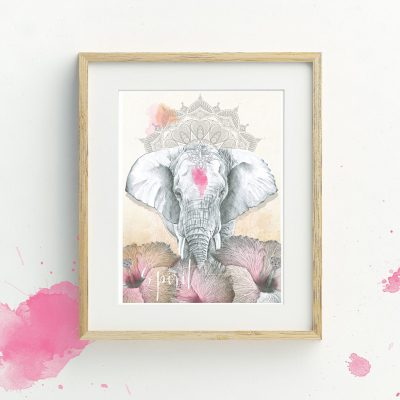 Bohemian illustrated Elephant and mandala art print by Tasmanian artist Lara Hardy From Billie Hardy Creative