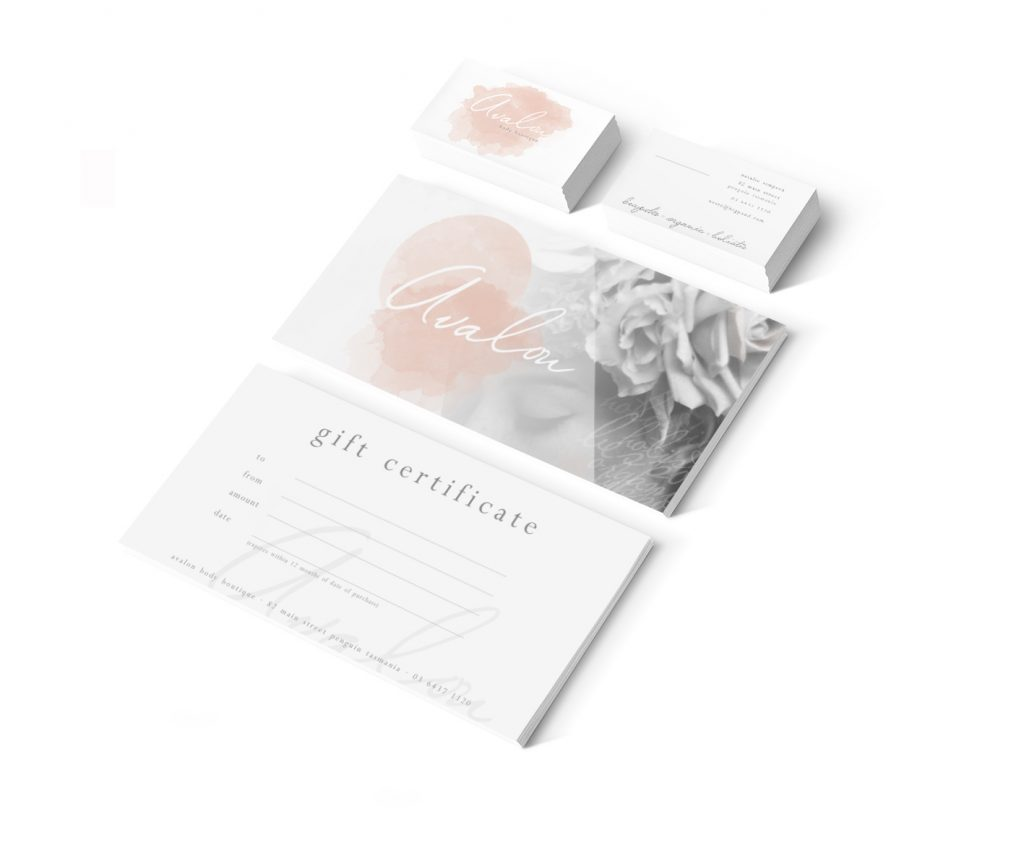 Avalon Body Boutique Tasmania Stationery Design by Billie Hardy Creative