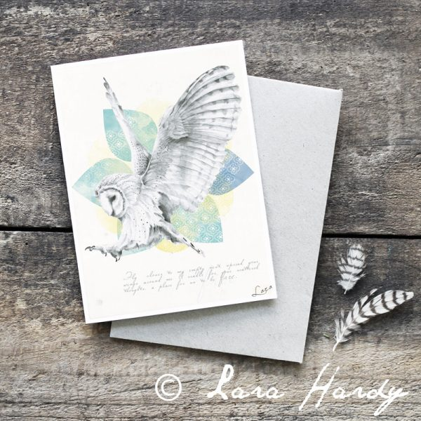 Bohemian Barn Owl and mandala illustrated art card by Tasmanian artist Lara Hardy From Billie Hardy Creative