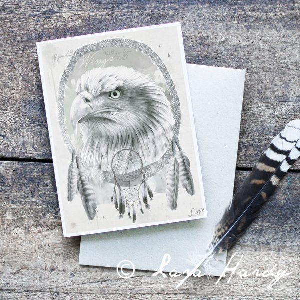 Eagle and Feathers watercolour art card by Tasmanian artist Lara Hardy From Billie Hardy Creative