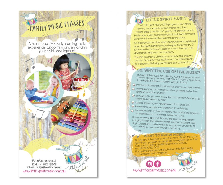 Kids fun Music brochure and corporate branding by Tasmanian graphic designer Lara Hardy from Billie Hardy Creative