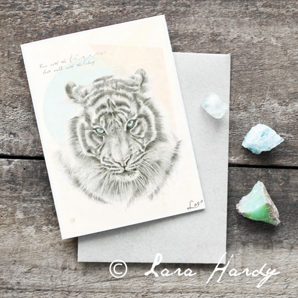 Bohemian Tiger watercolour art card by Tasmanian artist Lara Hardy From Billie Hardy Creative