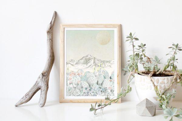 Bohemian succulent illustrated art print by Tasmanian artist Lara Hardy From Billie Hardy Creative