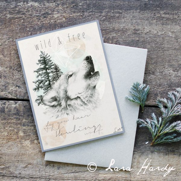 Bohemian Howling Wolf Nursery art card by Tasmanian artist Lara Hardy From Billie Hardy Creative