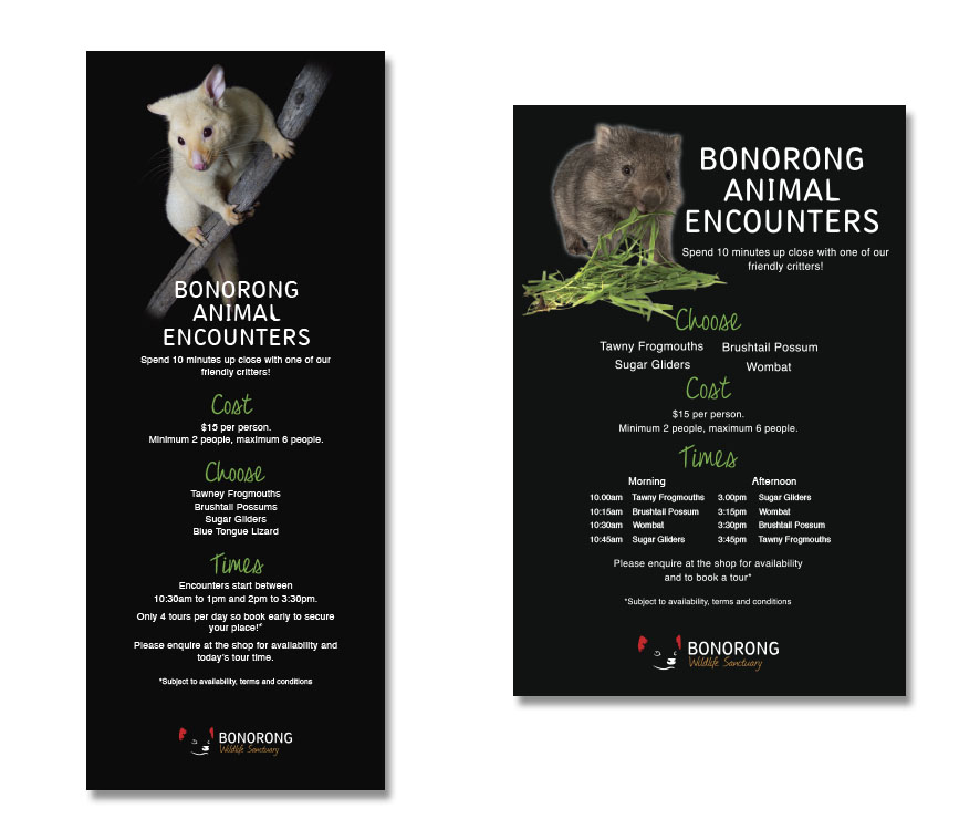 Bonorong Wildlife Sanctuary Animal Encounters Signage Design by Billie Hardy Creative
