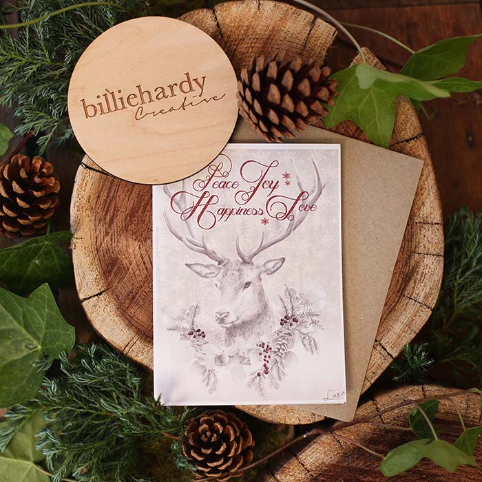Peace Joy Happiness Love Christmas Card Hand Drawn Illustration by Billie Hardy Creative