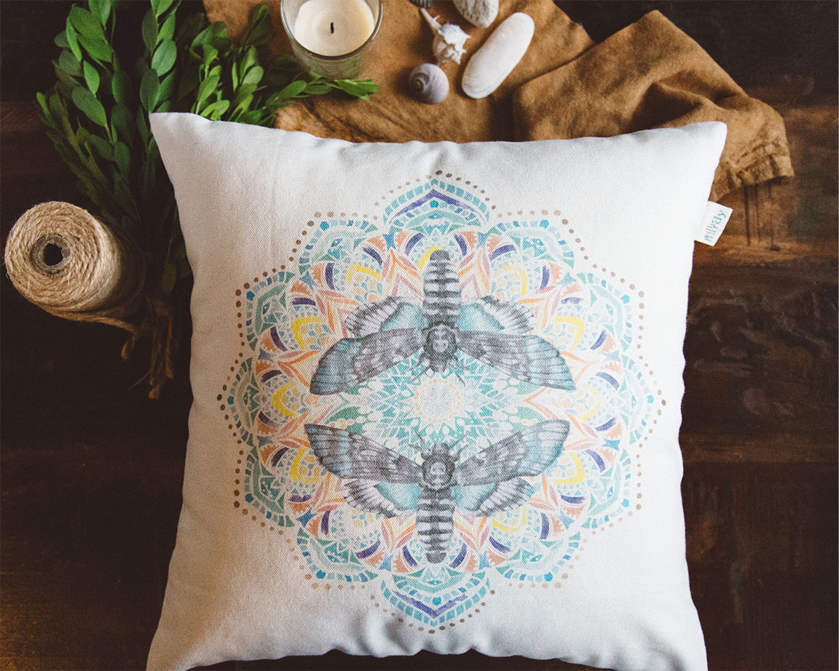 Elysian Hand Drawn Design Throw Pillow by Billie Hardy Creative
