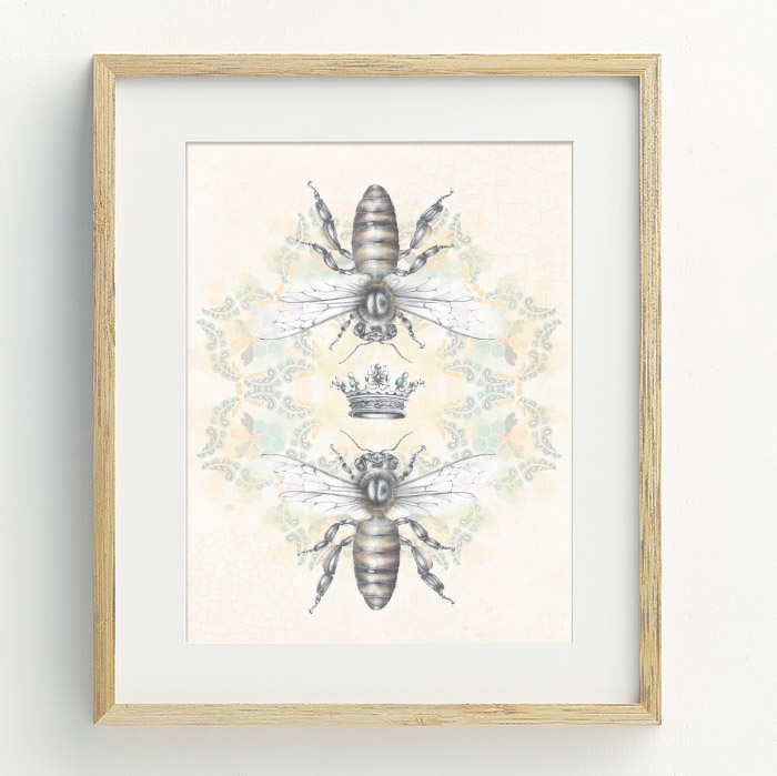 Queen Honey Bee Hand Drawn Illustration by Billie Hardy Creative