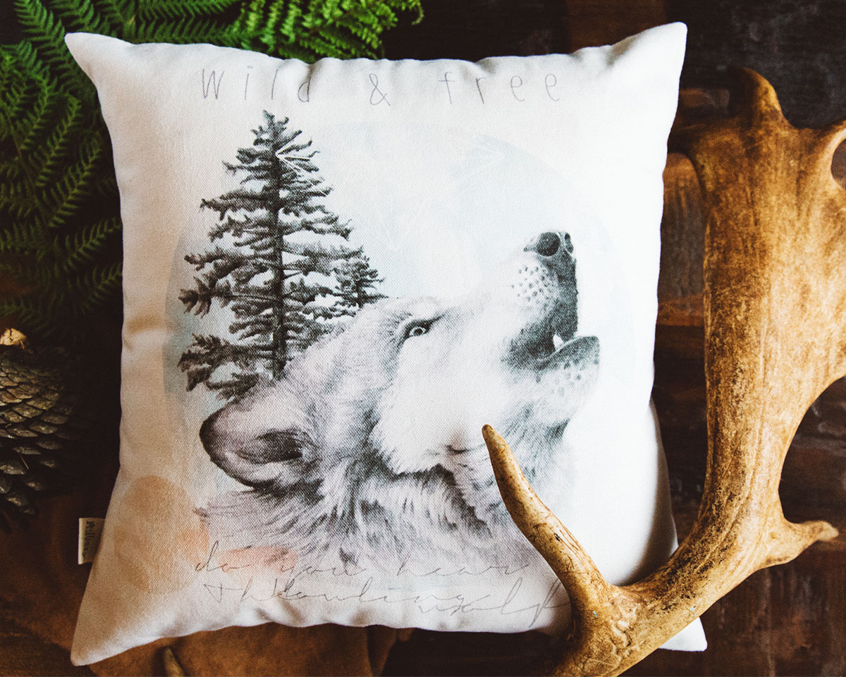 Howling Wolf hand drawn design Throw Pillow by Billie Hardy Creative
