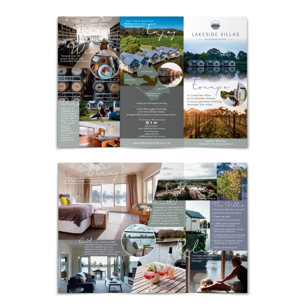 Luxury Vineyard Accomodation Company Logo and Brochure Design by Billie Hardy Creative
