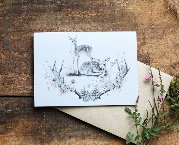 Baby Nursery deer Illustration baby shower art card by Billie Hardy Creative