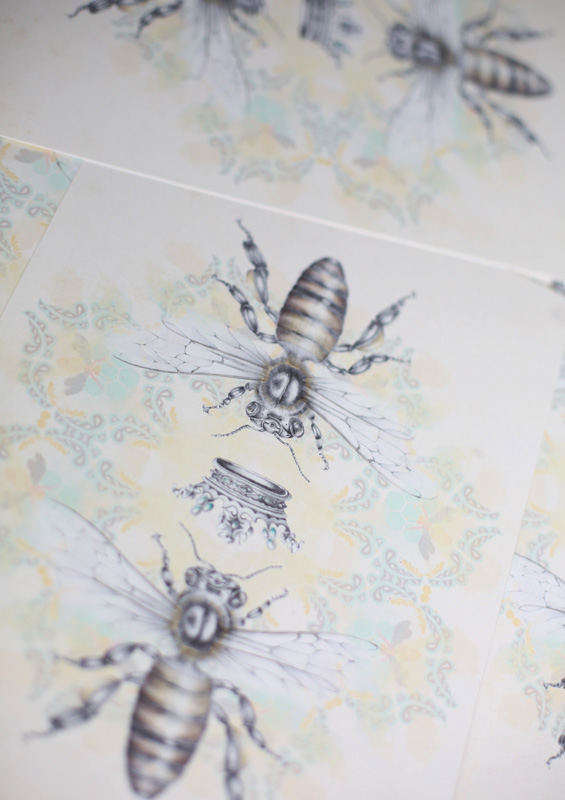 Queen Honey Bee Bohemian hand drawn illustrated art print by Tasmanian artist Lara Hardy From Billie Hardy Creative