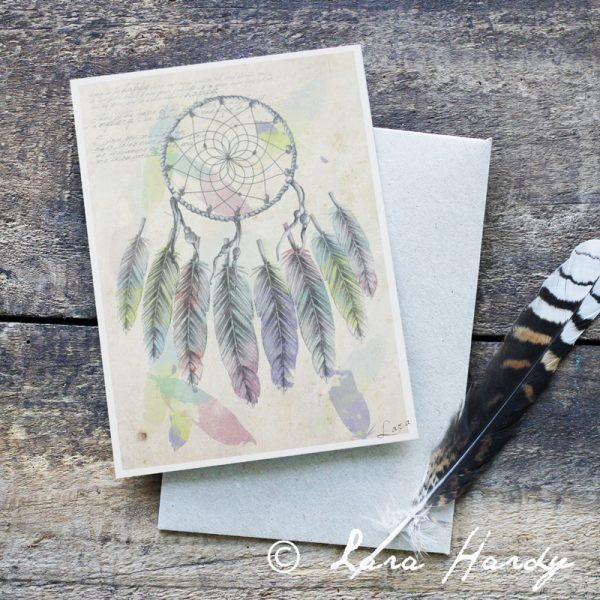 Bohemian Native American dream catcher Illustrated Art Card by Tasmanian artist Lara Hardy From Billie Hardy Creative