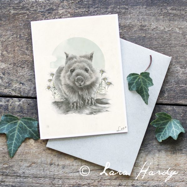Native Australian Wombat Bohemian Illustrated Art Greeting Card by Tasmanian artist Lara Hardy From Billie Hardy Creative