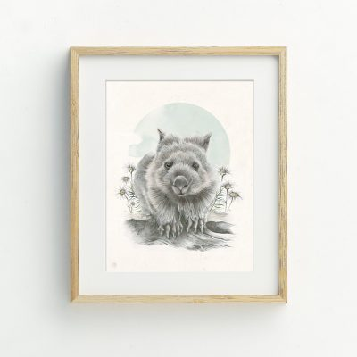 Native Australian Wombat Bohemian Illustrated Art Print by Tasmanian artist Lara Hardy From Billie Hardy Creative