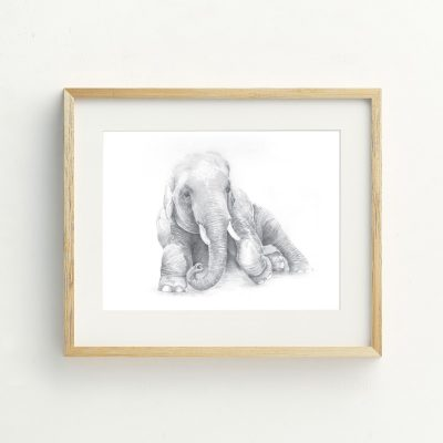 Hand drawn bohemian Nursery elephant art print by Tasmanian artist Lara Hardy From Billie Hardy Creative