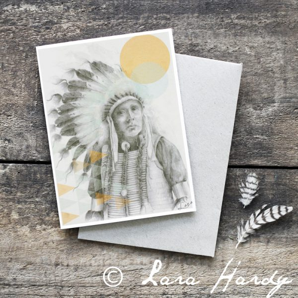 Native American Indian Bohemian tribal Illustrated Art Card by Billie Hardy Creative