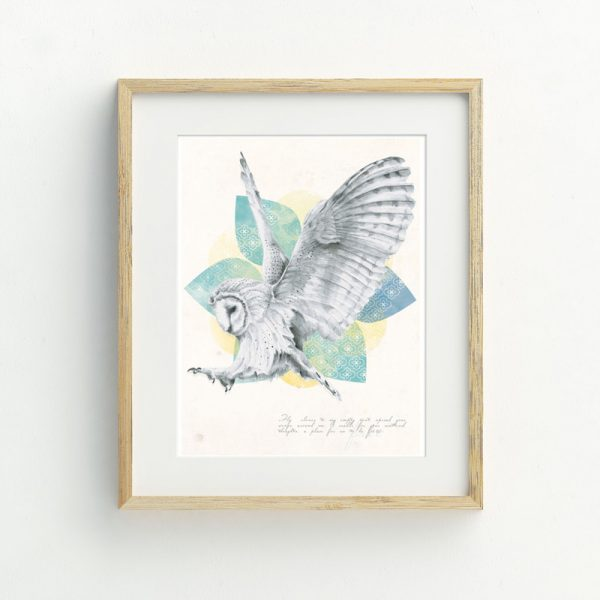 Barn Owl Bohemian hand drawn illustrated art print by Billie Hardy Creative
