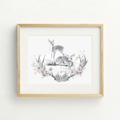Baby Nursery deer Illustration art print by Billie Hardy Creative